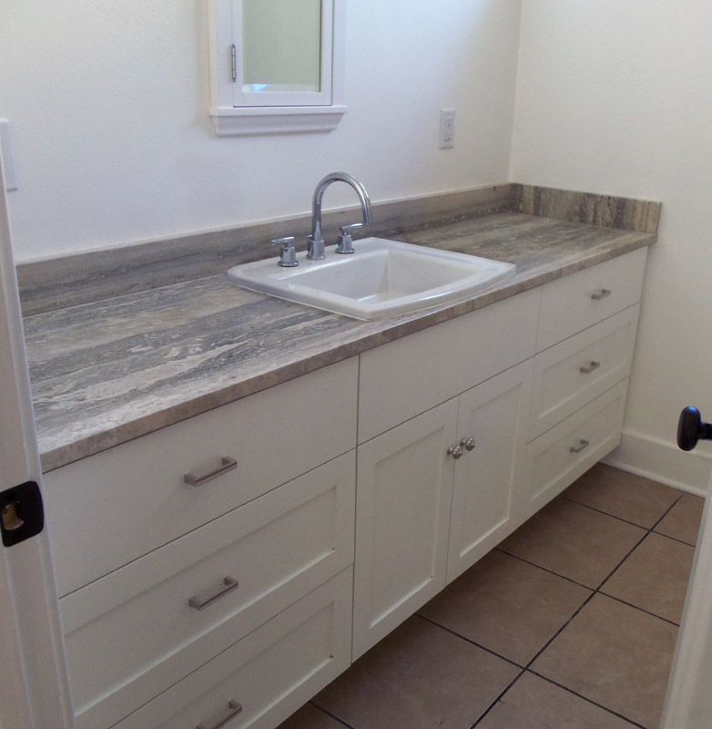 Bathroom Vanity With Bank Of Drawers On Either Side Of