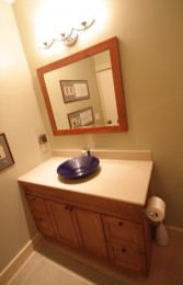 Cherry wood vanity and matching mirror frame