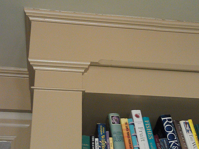 Close up of T.V. media bookcase