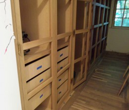 Closet with pull out drawers
