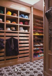 Custom shoe rack with pull out drawers and dry brush finish