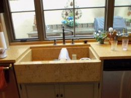 Hand made Farmers style limestone sink