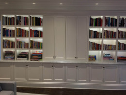 Entertainment / bookcase cabinet with light & storage - Holmby residence