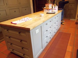 Island with maple distressed butcher block