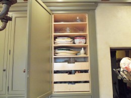 Kitchen pantry with pull out drawers