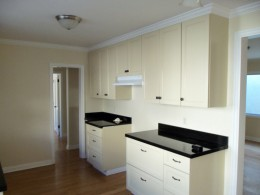 Kitchen with absolute black granite counter top