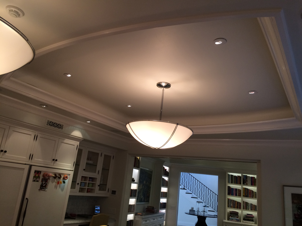 Kitchen & coffered ceiling with beams and crown