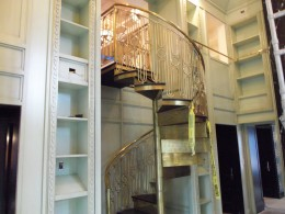 Library with custom bronze & spiral staircase