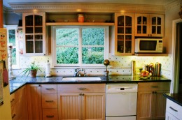 Maple cabinets with Bead Board doors