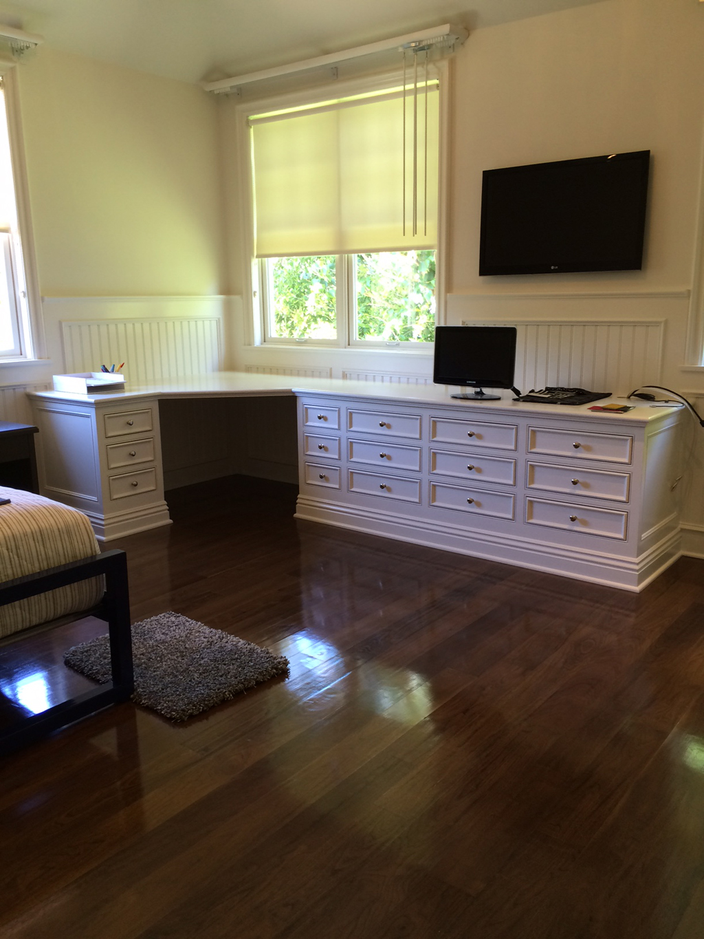 Custom desk with inset doors & drawer fronts