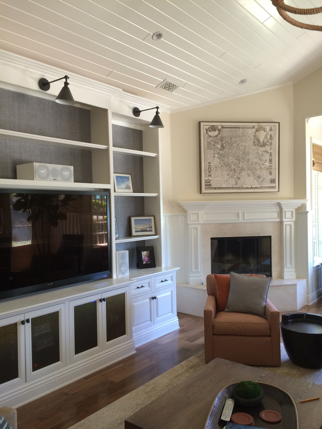 Custom television cabinet with light & storage on sides - Brentwood residence