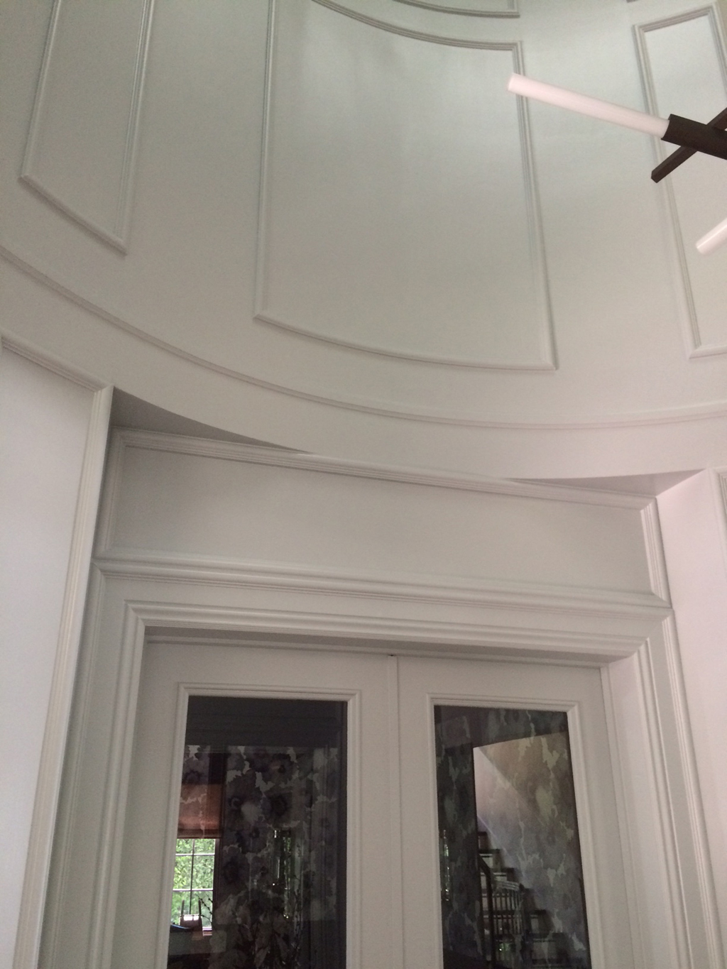Custom main entry millwork - Beams, radius applied moldings & beams - Brentwood residence