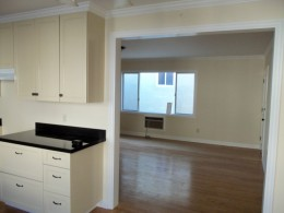 Paint grade kitchen with Shaker style doors alt view