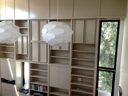Painted custom bookcase library alt view