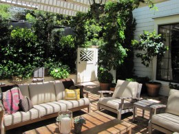 Pergola with trellis and outdoor fireplace alt view 2