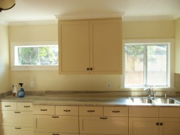 Shaker style kitchen with green marble counter top