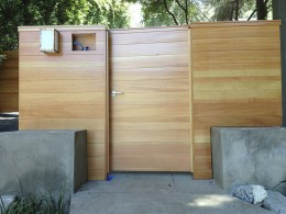 Vertical grain fir driveway gate, fence and pedestrian gate